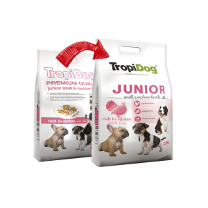 TROPIDOG PREMIUM JUNIOR SMALL&MEDIUM BREEDS- RICH IN TURKEY 2,5kg