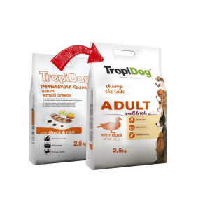 TROPIDOG PREMIUM ADULT SMALL BREEDS- DUCK&RICE 2,5kg