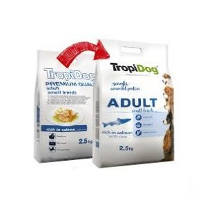 TROPIDOG PREMIUM ADULT SMALL BREEDS RICH IN SALMON, WITH RICE 2,5kg