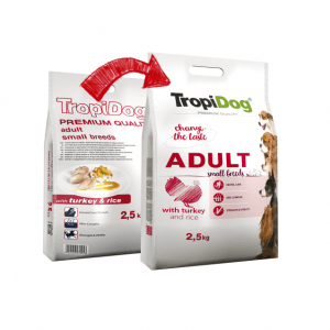 TROPIDOG PREMIUM ADULT SMALL BREEDS - WITH TURKEY & RICE 2,5kg