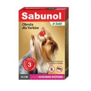 Sabunol obroża ozdobna różowa dla Yorków 35 cm