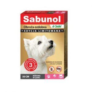 Sabunol - Obroża ozdobna różowa w łapki 50cm