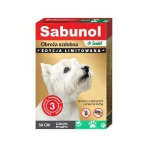 Sabunol - Obroża ozdobna zielona w łapki 50cm