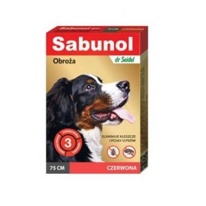 Sabunol czerwona obroża przeciw pchłom i kleszczom dla psa 75 cm