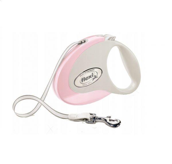 Smycz Flexi Style Różowa 5m taśma max. 25kg
