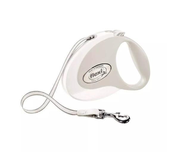 Smycz Flexi Style Biała 5m taśma max. 25kg