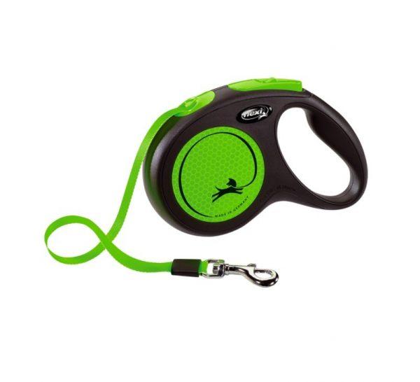 Smycz Flexi Neon Zielona taśma 5m S max 15kg