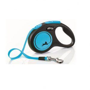 Smycz Flexi Neon Niebieska taśma 5m S max 15kg